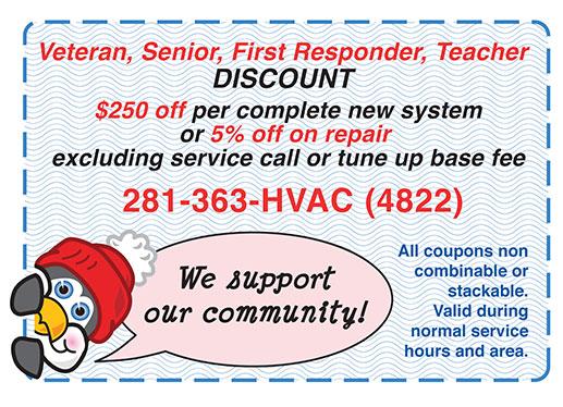 Veteran, Senior, First Responder, Teacher Discount